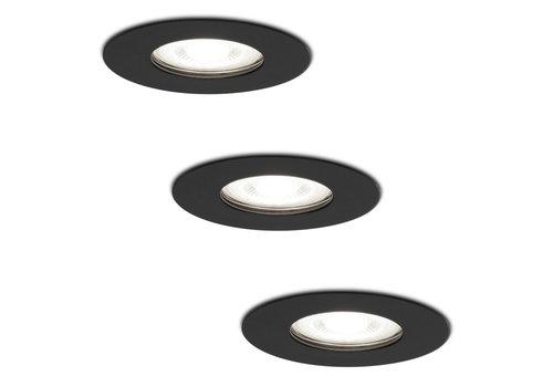 HOFTRONIC™ Set van 3 dimbare LED inbouwspots Bari zwart GU10 5 Watt 6400K IP65 spatwaterdicht