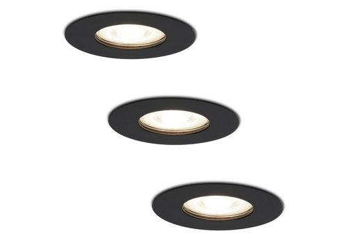 HOFTRONIC™ Set of 3 dimmable LED spotlights Bari black GU10 5 Watt 4000K IP65 splashproof
