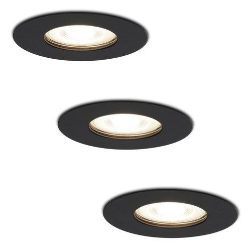 HOFTRONIC™ Set van 3 dimbare LED inbouwspots Bari zwart GU10 5 Watt 4000K IP65 spatwaterdicht