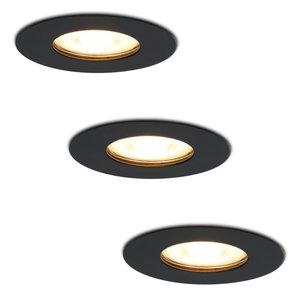 HOFTRONIC™ Set van 3 dimbare LED inbouwspots Bari zwart GU10 4.2 Watt 2700K IP65 spatwaterdicht