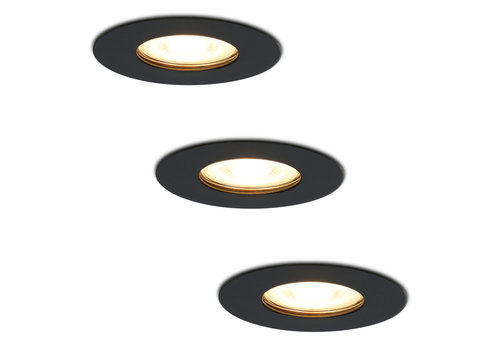 HOFTRONIC™ Set of 3 dimmable LED spotlights Bari black GU10 5 Watt 2700K IP65 splashproof