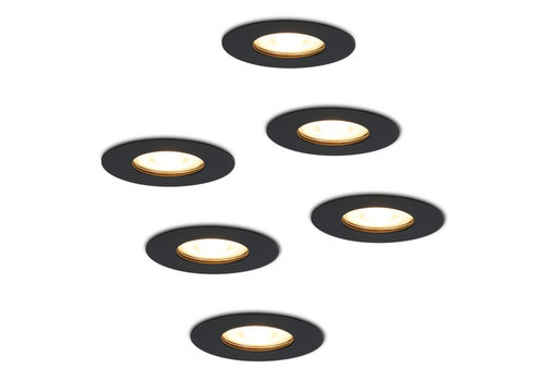 HOFTRONIC™ Set of 6 dimmable LED spotlights Bari black GU10 5 Watt 2700K IP65 splashproof