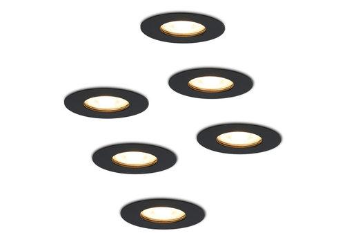 HOFTRONIC™ Set van 6 dimbare LED inbouwspots Bari zwart GU10 5 Watt 2700K IP65 spatwaterdicht