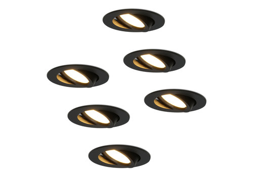 HOFTRONIC™ Set of 6 LED recessed downlight Rome black IP44 6 Watt 2700K dimmable tiltable 5 years warranty