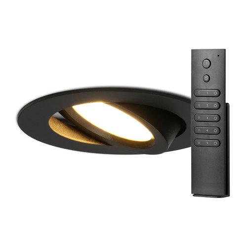HOFTRONIC™ Set van 6 stuks LED inbouwspots Rome zwart IP44 6 Watt 2700K dimbaar kantelbaar incl. afstandsbediening 5 jaar garantie