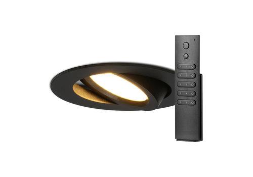 HOFTRONIC™ Set van 8 stuks LED inbouwspots Rome zwart IP44 6 Watt 2700K dimbaar kantelbaar incl. afstandsbediening 5 jaar garantie