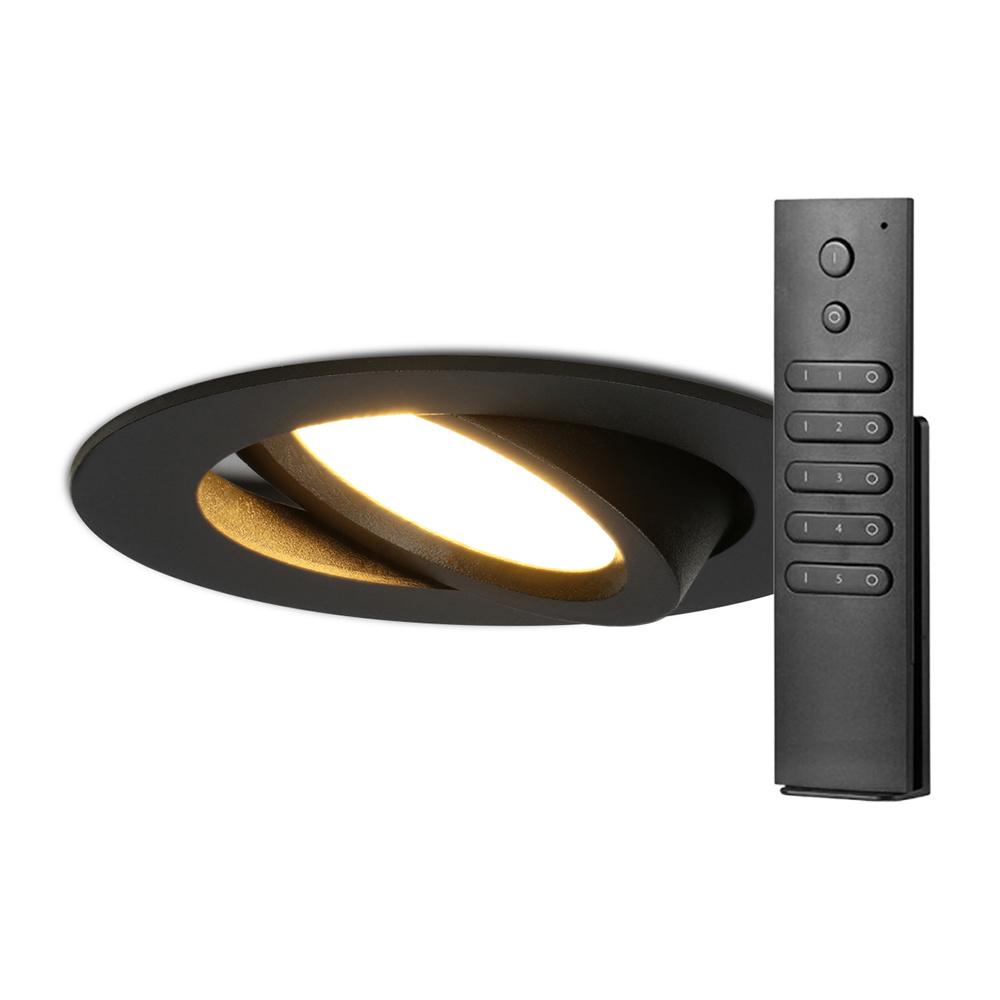 Set van 8 stuks LED inbouwspots Rome zwart IP44 6 Watt 2700K dimbaar kantelbaar incl. afstandsbedien