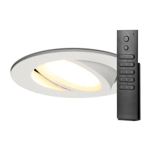 HOFTRONIC™ Set van 8 stuks LED inbouwspots Rome wit IP44 6 Watt 2700K dimbaar kantelbaar incl. afstandsbediening 5 jaar garantie