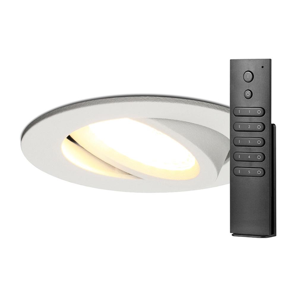 Set van 18 stuks LED inbouwspots Rome wit IP44 6 Watt 2700K dimbaar kantelbaar incl. afstandsbedieni