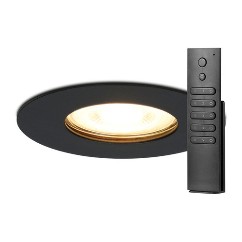 HOFTRONIC™ Set van 6 dimbare LED inbouwspots Bari zwart GU10 4.2 Watt 2700K IP65 spatwaterdicht incl. afstandsbediening