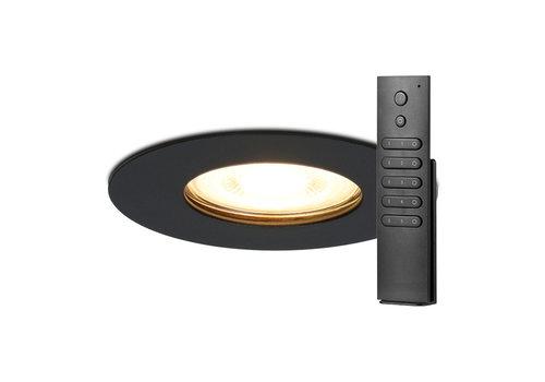 HOFTRONIC™ Set van 8 dimbare LED inbouwspots Bari zwart GU10 5 Watt 2700K IP65 spatwaterdicht incl. afstandsbediening