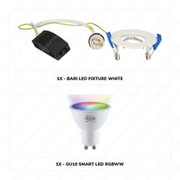 Set van 6 stuks smart WiFi dimbare RGBWW LED inbouwspots Bari wit 5,5 Watt IP65 spatwaterdicht