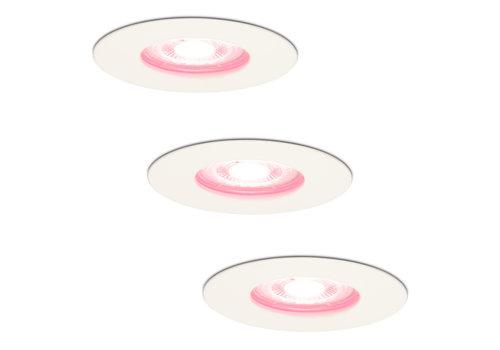 Homeylux Set van 3 stuks smart WiFi dimbare RGBWW LED inbouwspots Bari wit 5,5 Watt IP65 spatwaterdicht