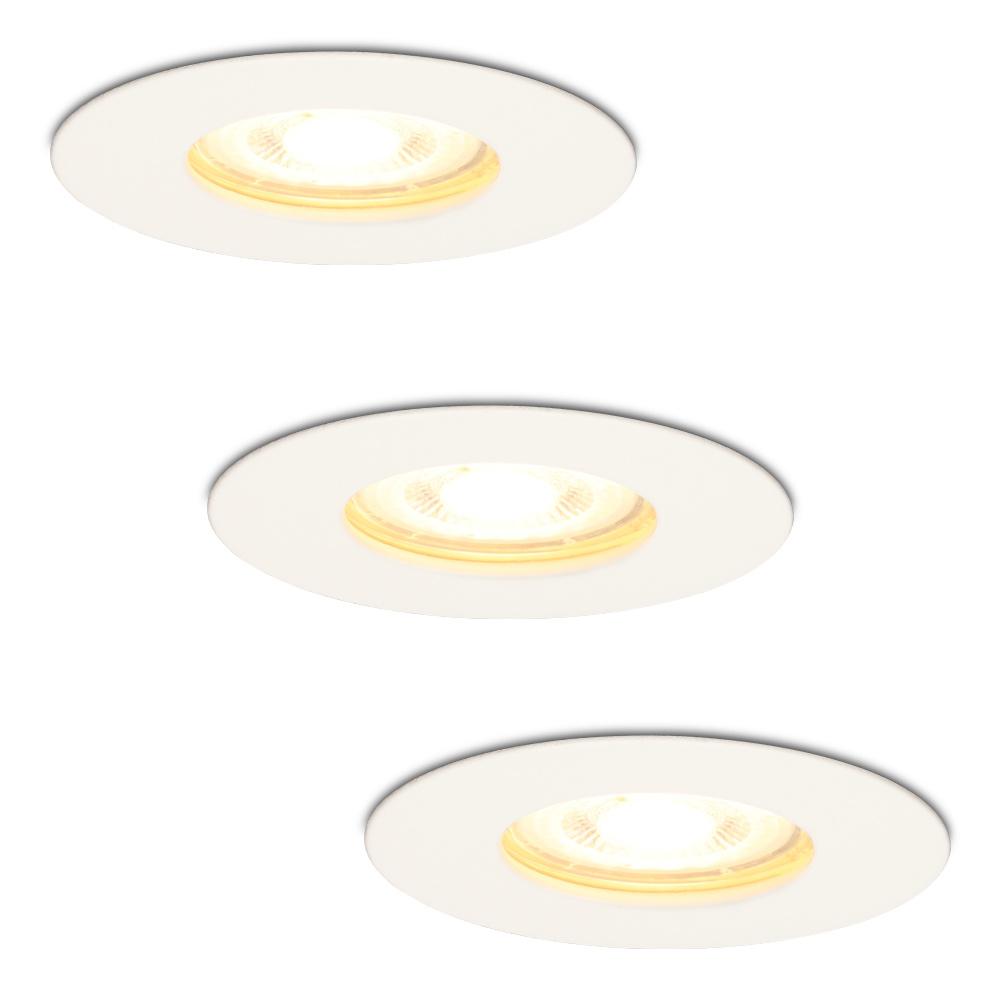 Set van 3 dimbare LED inbouwspots Bari wit GU10 5 Watt 2700K IP65 spatwaterdicht