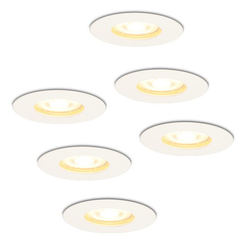 HOFTRONIC™ Set of 6 dimmable LED spotlights Bari white GU10 5 Watt 2700K IP65 splashproof