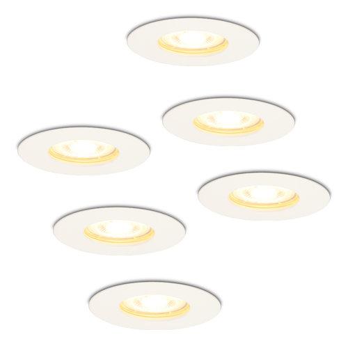 HOFTRONIC™ Set van 6 dimbare LED inbouwspots Bari wit GU10 5 Watt 2700K IP65 spatwaterdicht
