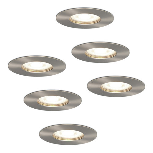 HOFTRONIC™ Set of 6 dimmable LED spotlights Bari stainless steel GU10 5 Watt 4000K IP65 splashproof