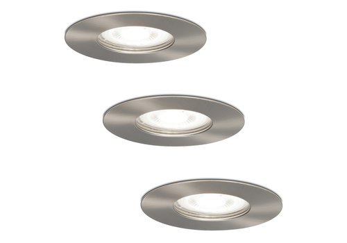 HOFTRONIC™ Set of 3 dimmable LED spotlights Bari stainless steel GU10 5 Watt 6000K IP65 splashproof