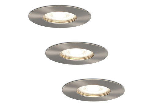 HOFTRONIC™ Set of 3 dimmable LED spotlights Bari stainless steel GU10 5 Watt 4000K IP65 splashproof