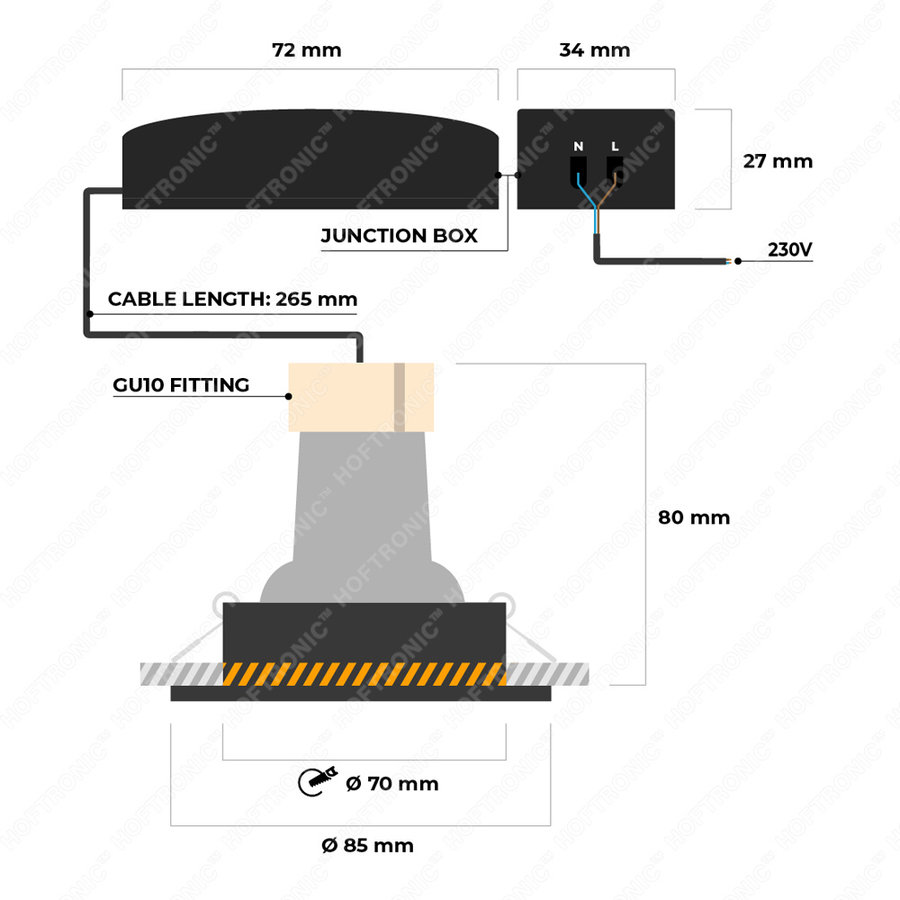 Dimbare LED inbouwspot Bari RVS GU10 5 Watt 4000K IP65 spatwaterdicht
