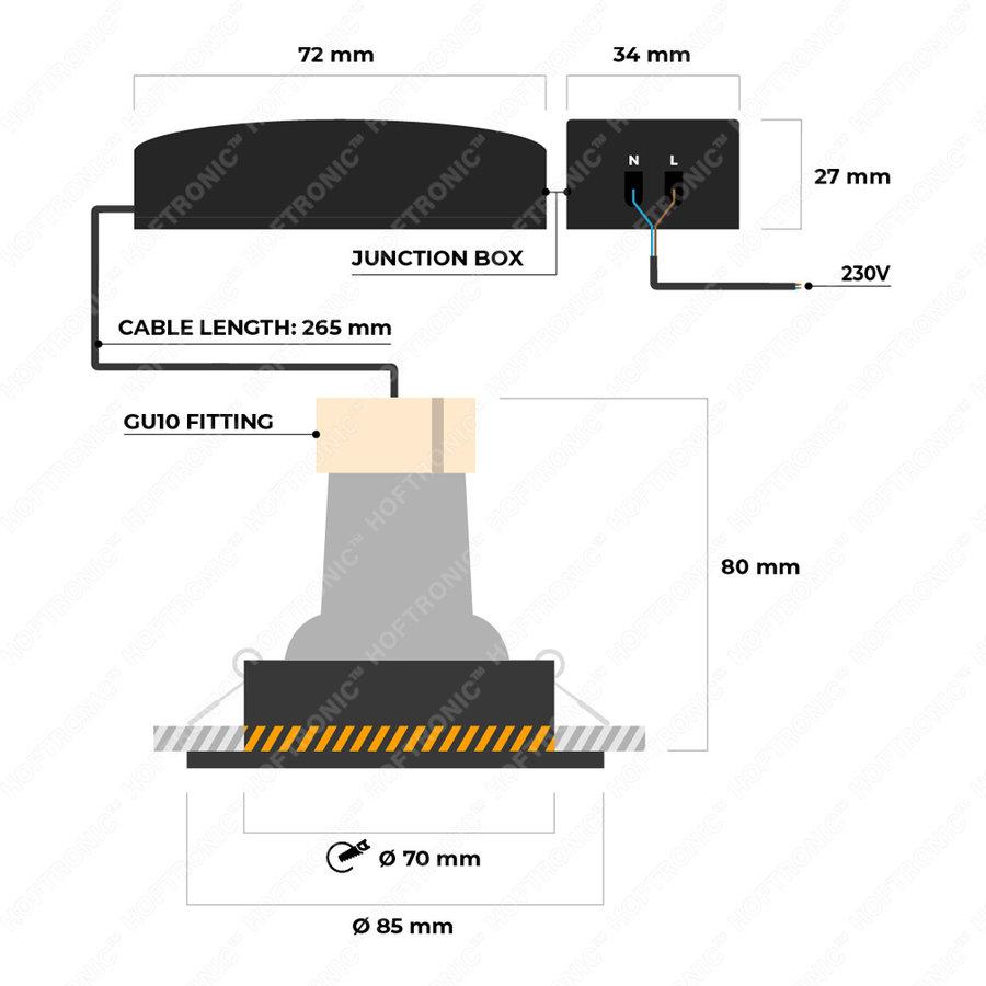 Set van 3 dimbare LED inbouwspots Bari RVS GU10 5 Watt 2700K IP65 spatwaterdicht