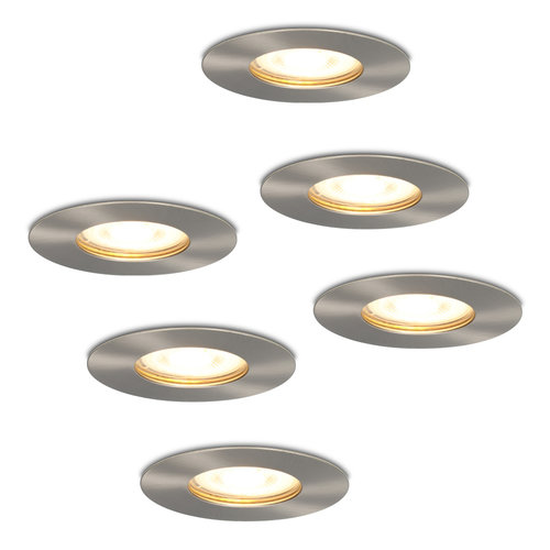 HOFTRONIC™ Set of 6 dimmable LED spotlights Bari stainless steel GU10 5 Watt 2700K IP65 splashproof