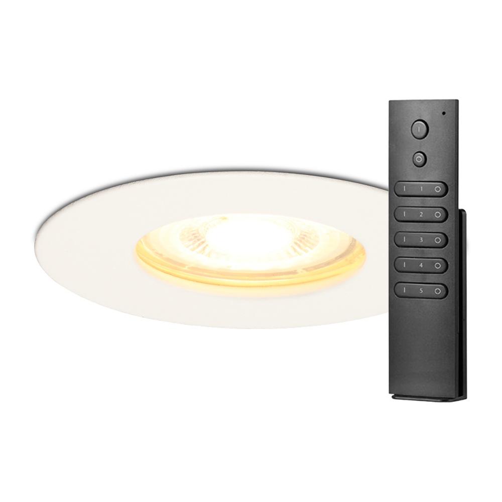 Set van 14 dimbare LED inbouwspots Bari wit GU10 5 Watt 2700K IP65 spatwaterdicht incl. afstandsbedi