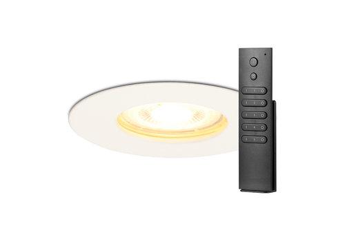 HOFTRONIC™ Set of 8 dimmable LED spotlights Bari white GU10 5 Watt 2700K IP65 splashproof incl. remote control