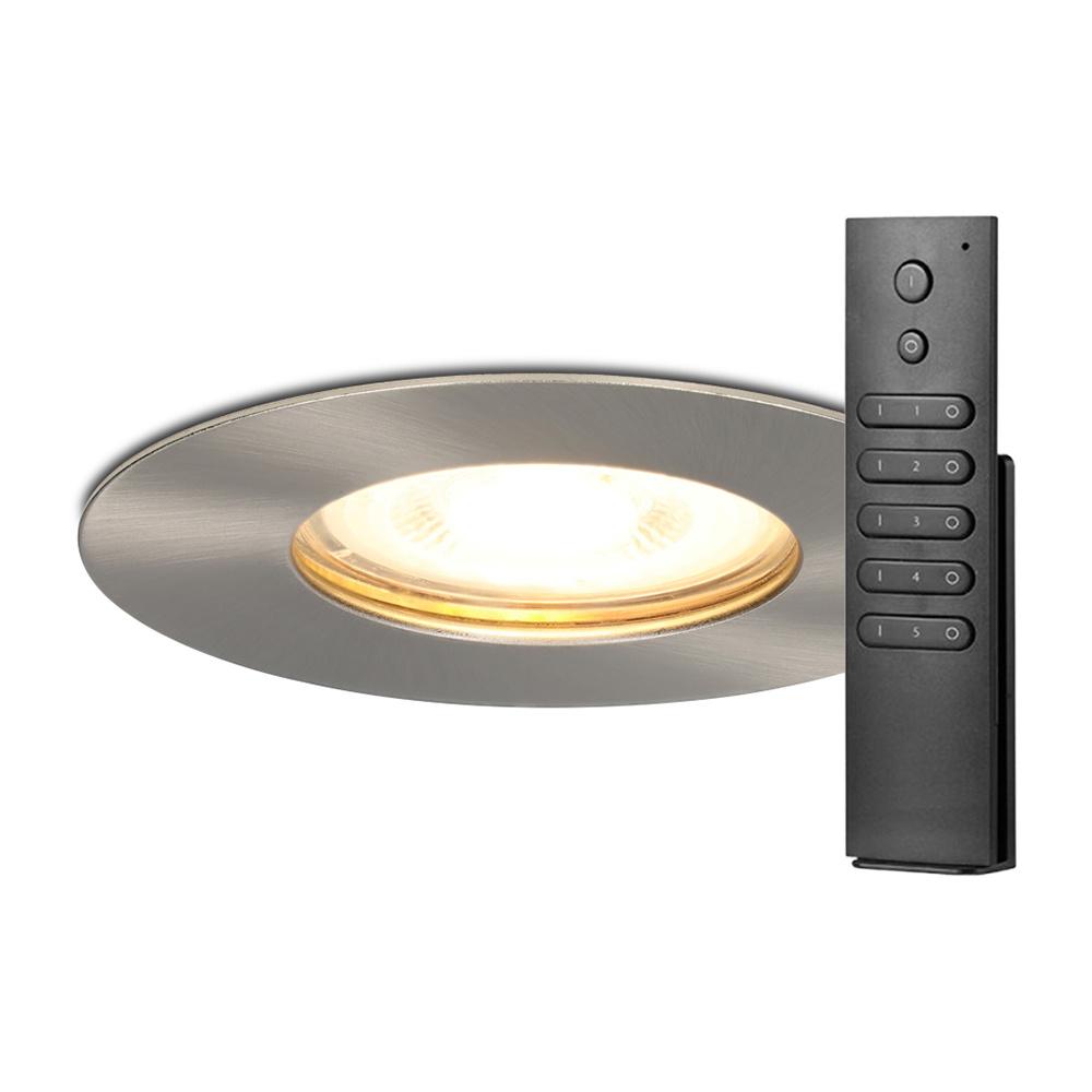 Set van 8 dimbare LED inbouwspots Bari RVS GU10 5 Watt 2700K IP65 spatwaterdicht incl. afstandsbedie