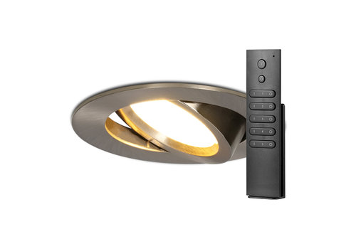 HOFTRONIC™ Set of 8 LED recessed downlights Rome stainless steel IP44 6 Watt 2700K dimmable tiltable incl. remote control 5 years warranty