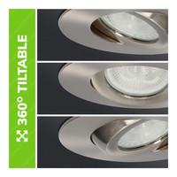 Set van 3 stuks LED inbouwspots Napels IP65 8 Watt 2700K dimbaar 360° kantelbaar RVS