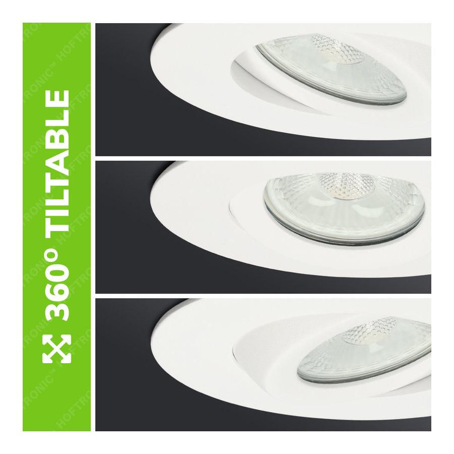 Set van 6 stuks LED inbouwspots Napels IP65 8 Watt 2700K dimbaar 360° kantelbaar wit