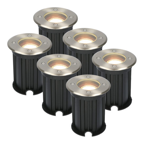 HOFTRONIC™ 6x Maisy dimmable LED ground spotlight round stainless steel 5W 2700K IP67
