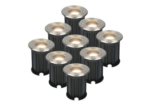 HOFTRONIC™ 9x Maisy dimmable LED ground spotlight round stainless steel 5W 2700K IP67