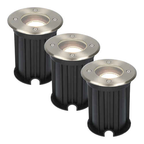 HOFTRONIC™ 3x Maisy dimmable LED ground spotlight round stainless steel 5W 4000K IP67