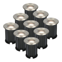 9x Maisy dimmable LED ground spotlight round stainless steel 5W 4000K IP67 waterproof 3 years warranty