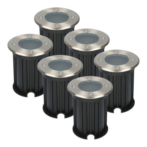 HOFTRONIC™ 6x Maisy dimbare LED Grondspot rond RVS excl. lichtbron IP67