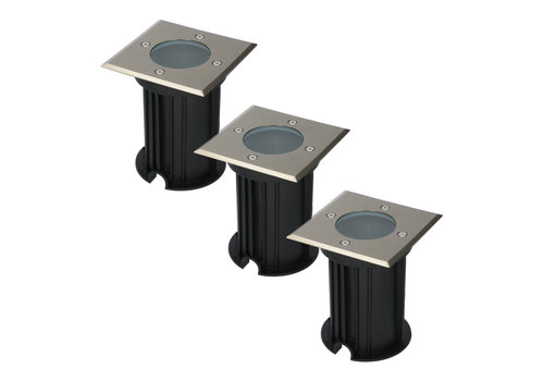HOFTRONIC™ 3x Ramsay dimmable ground spot brushed stainless steel square excl. light source IP67