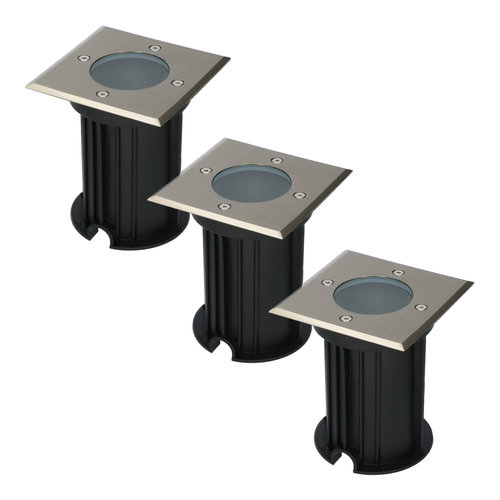 HOFTRONIC™ 3x Ramsay dimbare LED grondspot vierkant RVS excl. lichtbron IP67