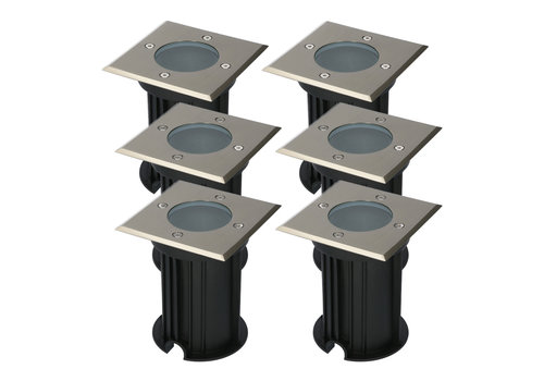 HOFTRONIC™ 6x Ramsay dimbare LED grondspot vierkant RVS excl. lichtbron IP67