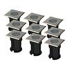 HOFTRONIC™ 9x Ramsay dimbare LED grondspot vierkant RVS excl. lichtbron IP67 waterdicht 3 jaar garantie