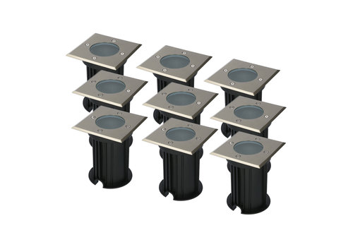 HOFTRONIC™ 9x Ramsay dimmable ground spot brushed stainless steel square excl. light source IP67