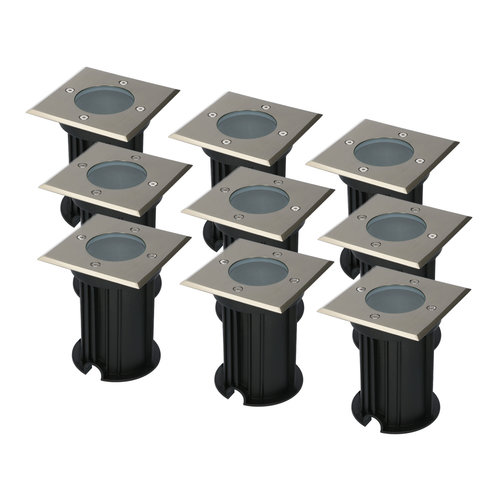 HOFTRONIC™ 9x Ramsay dimbare LED grondspot vierkant RVS excl. lichtbron IP67