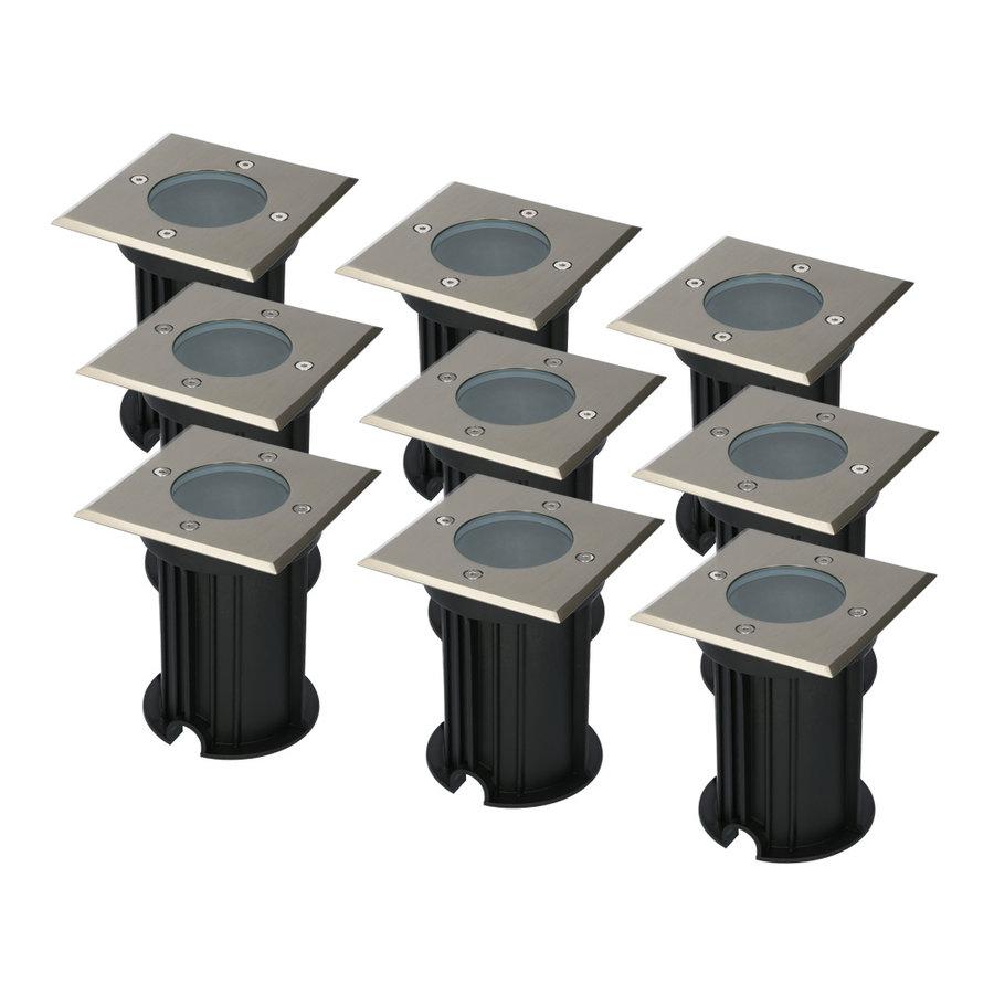 9x Ramsay dimbare LED grondspot vierkant RVS excl. lichtbron IP67 waterdicht 3 jaar garantie