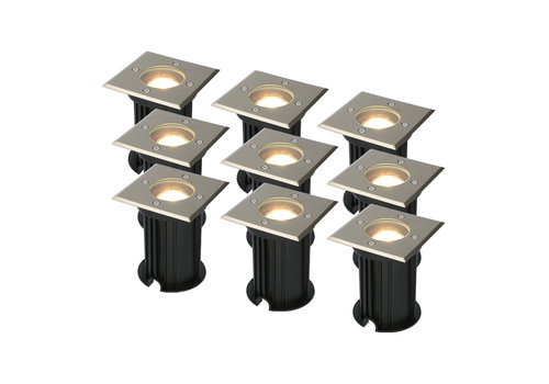 HOFTRONIC™ 9x Ramsay dimmable LED ground spotlight stainless steel 5W 2700K IP67