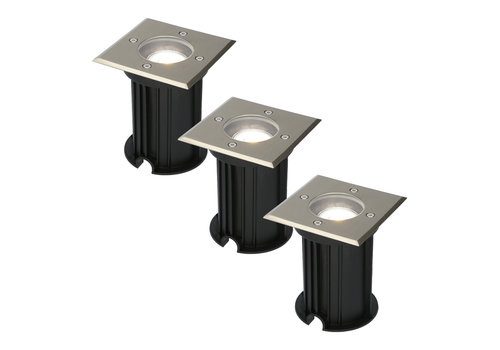 HOFTRONIC™ 3x Ramsay dimmable LED ground spotlight stainless steel 5W 6000K IP67