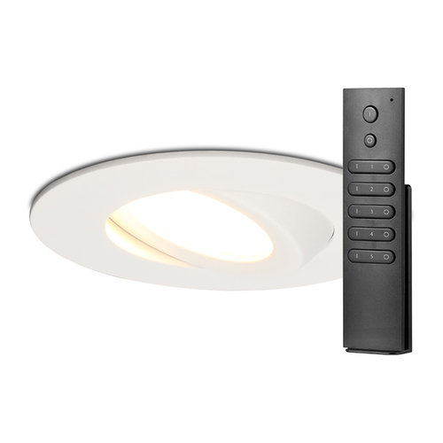 HOFTRONIC™ Set van 8 stuks LED inbouwspots Napels IP65 8 Watt 2700K dimbaar 360° kantelbaar wit incl. afstandsbediening