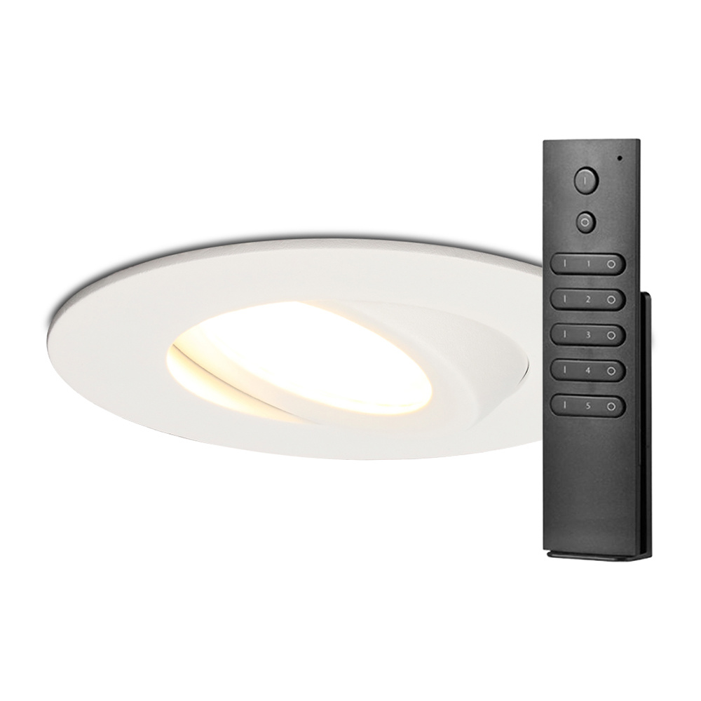Set van 12 stuks LED inbouwspots Napels IP65 8 Watt 2700K dimbaar 360° kantelbaar wit incl. afstands