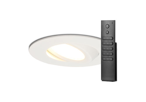 HOFTRONIC™ Set of 18 LED recessed downlights Naples IP65 8 Watt 2700K dimmable 360° tiltable white incl. remote control