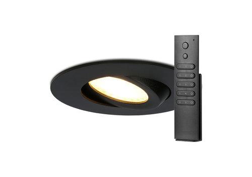 HOFTRONIC™ Set van 6 stuks LED inbouwspots Napels IP65 8 Watt 2700K dimbaar 360° kantelbaar zwart incl. afstandsbediening